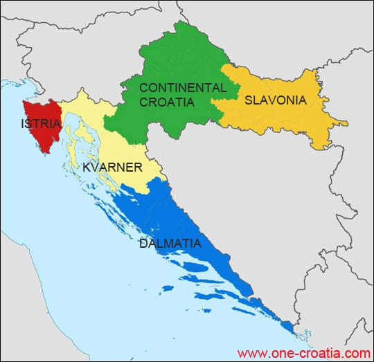 Map of Croatia Map of Croatian regions highway tourist spots – Croatia Tourist Map
