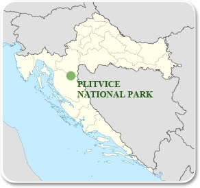 Plitvice lakes National park in Croatia  Tourist guide map
